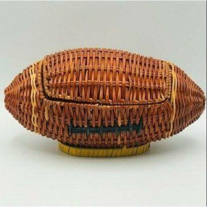 Vintage Wicker Bamboo Football Basket Chest